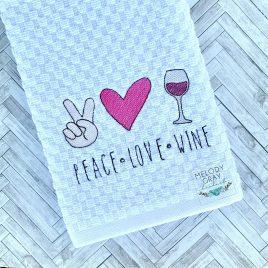 Peace Love Wine, Sketch, Embroidery Design, Digital File