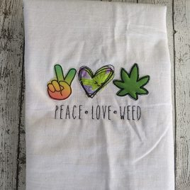 Peace Love Weed, Raggy Applique, Embroidery Design, Digital File