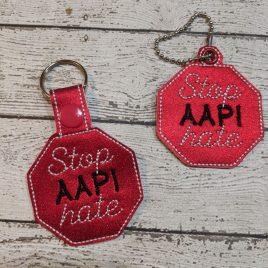 Stop AAPI hate, Snap Tab, Eyelet Keyfob, Embroidery Design, Digital File