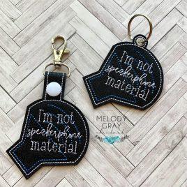 Not Speakerphone Material, Snap Tab, Eyelet Keyfob, Embroidery Design, Digital File