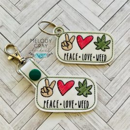 Peace Love Weed, Snap Tab, Eyelet Keyfob, Embroidery Design, Digital File