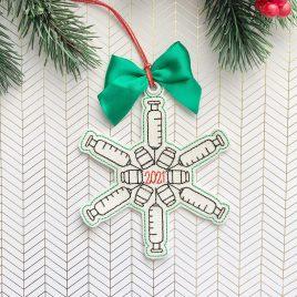 Syringe 2021 Snowflake, Ornament, In the Hoop, Embroidery Design, Digital File