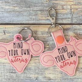 Mind Your Own Uterus, Snap Tab, Eyelet Keyfob, Embroidery Design, Digital File